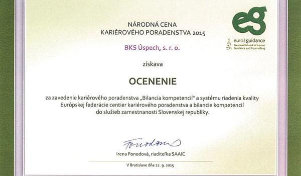 Projekt Bilancia kompetencií získal Národnú cenu kariérového poradenstva 2015